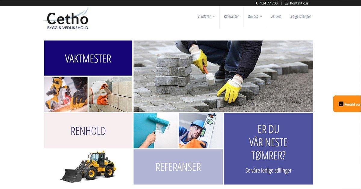 Nettside for Cetho Bygg & Vedlikehold